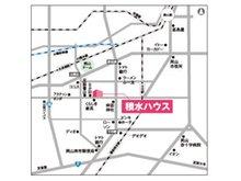 JR「岡山駅」より岡山・児島線沿い宗忠神社北「大元一丁目」交差点を西へ車で約3分。NTT今村電話局北西300m。