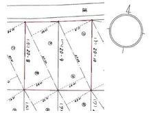 大字三本木字里ノ沢 400万円 土地価格400万円、土地面積604㎡現地測量図。真ん中の境界線部分に土留めがありますが、二区画一括での販売です。