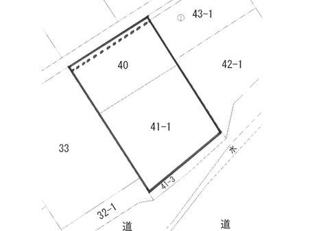 渡利字岩根町 2504万円 土地価格2504万円、土地面積493㎡破線はセットバック部分