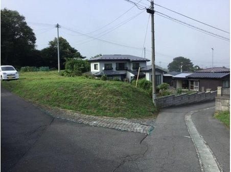 大字鮫町字骨沢(大久喜駅) 100万円 前面道路を含む現地写真です。道路部分の真ん中には側溝があります。