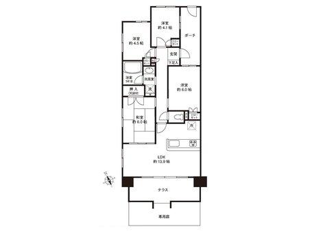アイランドグレース 4LDK、価格3800万円、専有面積73.75㎡、バルコニー面積12.12㎡1階角部屋の明るいお部屋です!