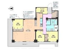 サンシティD棟 3LDK+S、価格4390万円、専有面積91.56㎡、バルコニー面積22.04㎡■専有面積:91.56平米の4LDKタイプ