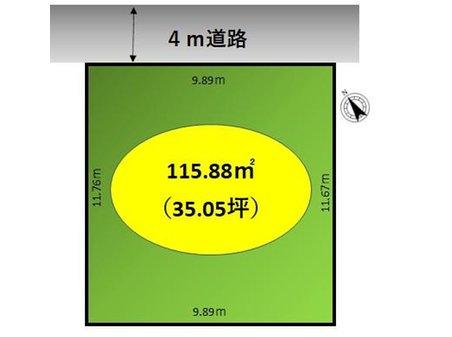 北今泉 70万円 土地価格70万円、土地面積115.88㎡区画図