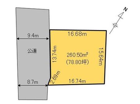 鍋沼新田(万博記念公園駅) 400万円 土地価格400万円、土地面積260.5㎡