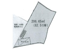 土地価格1240万円、土地面積206.65㎡区画図