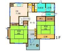 大字津田(後台駅) 2250万円 2250万円、5DK+2S(納戸)、土地面積482.94㎡、建物面積136.83㎡1階間取り図