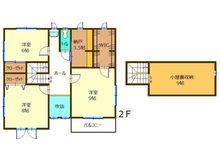 大字津田(後台駅) 2250万円 2250万円、5DK+2S(納戸)、土地面積482.94㎡、建物面積136.83㎡2階間取り図