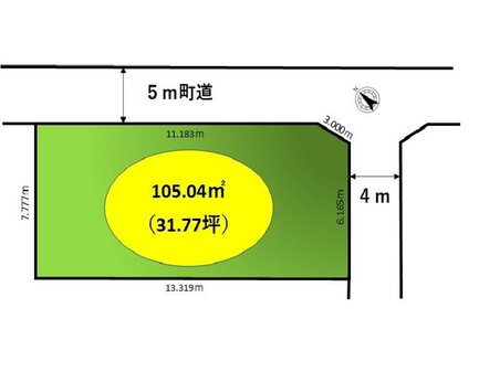 宮川 180万円 土地価格180万円、土地面積105.04㎡区画図