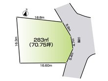 土地価格450万円、土地面積283㎡