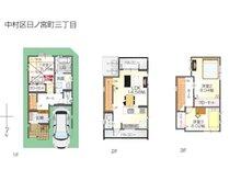 3721万4000円、3LDK、土地面積65.02㎡、建物面積106.67㎡両面バルコニーで明るい2階のLDK。 全室クローゼット付+大型地下収納付きで家中スッキリ!
