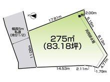 土地価格1250万円、土地面積275㎡