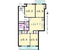 三旺マンション第三東山 4LDK、価格1980万円、専有面積91.82㎡、バルコニー面積10.44㎡専有面積広々約91㎡! 令和2年5月リフォーム済みの綺麗なお部屋です。