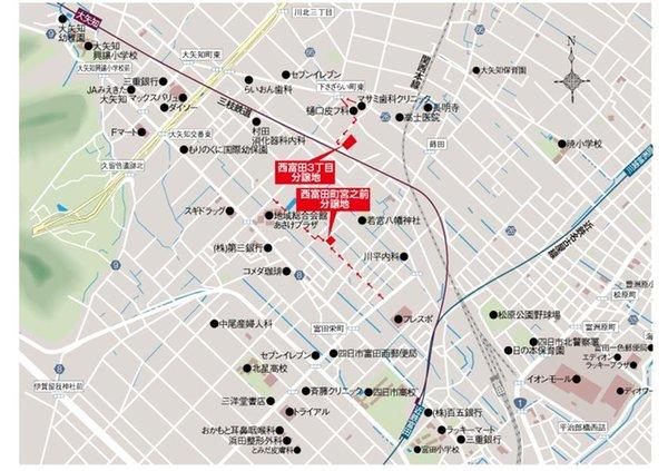 四日市市 西富田3丁目  【一戸建て】 現地案内図