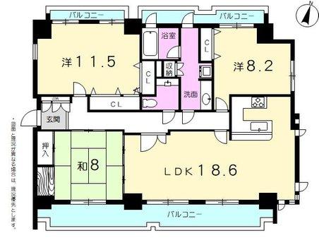 ヴェルビュ自由ヶ丘 3LDK、価格4280万円、専有面積118.78㎡、バルコニー面積32.74㎡1フロア1邸。