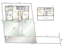徳川山町3(自由ケ丘駅) 9500万円 9500万円、4LDK、土地面積437.01㎡、建物面積140.35㎡敷地を含めた間取り図です。広い庭があり、駐車スペースは2台以上です。