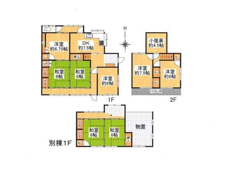 薪山垣外(京田辺駅) 1990万円 本格和風建築:日本庭園あり。まだまだ使用出来ます