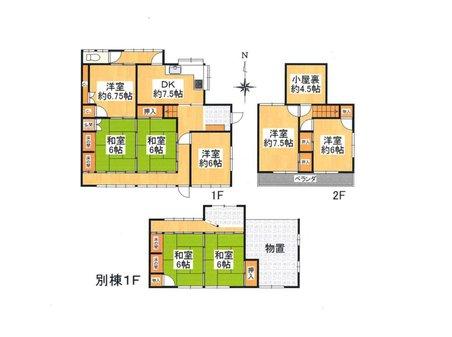 薪山垣外(京田辺駅) 1990万円 1990万円、8DK+S(納戸)、土地面積302㎡、建物面積187.6㎡別棟有り:8DKの2世帯住宅仕様