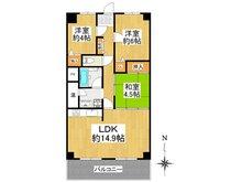 洛南ハイライフ 3LDK、価格1450万円、専有面積69.3㎡、バルコニー面積8.65㎡使いやすいように洋室を6帖に変更