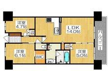シャリエ門真グランマークス 駅近築浅マンション♪ 3LDK、価格2780万円、専有面積65.44㎡、バルコニー面積11.02㎡3LDKでご家族世帯も安心です♪