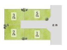 【全体区画図】 全4区画。 ゆとりの敷地では、ガーデニングやちょっとした家庭菜園を楽しめるスペースも確保できます。毎日のママの楽しみが増えますね。