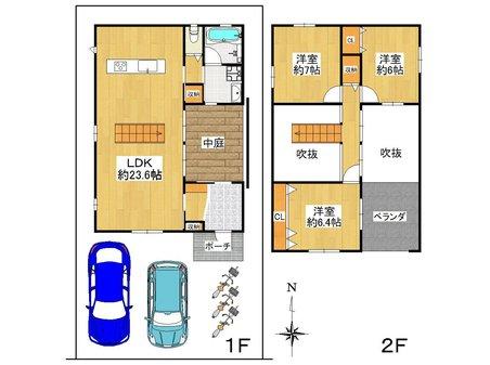 牧野本町2(牧野駅) 3580万円 3580万円、3LDK、土地面積111.06㎡、建物面積99.36㎡3LDK+ワイドバルコニー。吹き抜けの有る家