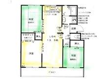 名谷8団地41号棟404 3LDK、価格1590万円、専有面積62.07㎡、バルコニー面積5㎡3LDKに変更しています、駅徒歩5分、フルリノベーション済、