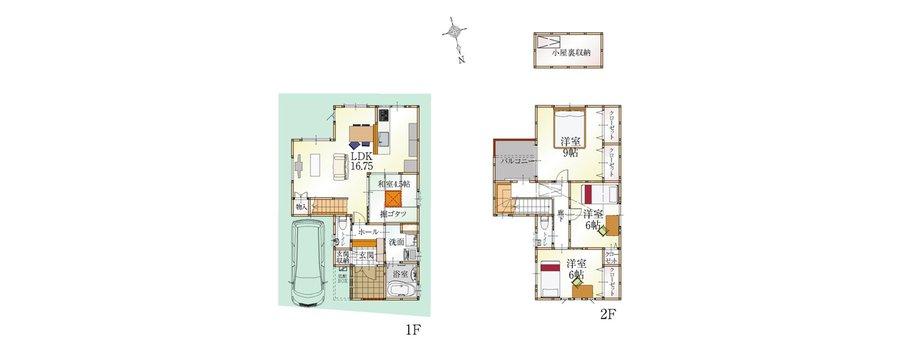 (6号地)、価格3598万3000円、4LDK、土地面積97.72㎡、建物面積103.71㎡