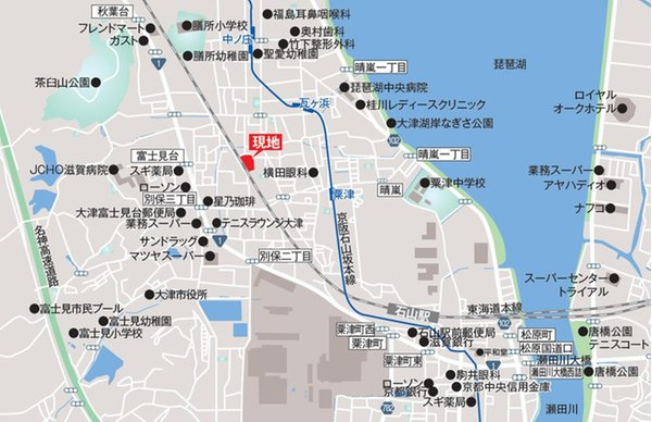 【橋本不動産】『石山』駅 徒歩15分 ~杉浦町・全棟ZEH仕様の分譲住宅~ 【一戸建て】 現地案内図