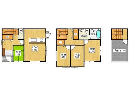 建物プラン例、土地価格500万円、土地面積87.95㎡、建物価格1490万円、建物面積83㎡推奨プラン:屋上バルコニーのある家