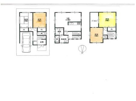 建物プラン例、土地価格800万円、土地面積64.3㎡、建物価格1650万円、建物面積99.2㎡間取り:推奨プラン