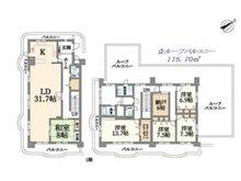 ネオハイツ神陵台 5LDK+S(納戸)、価格2750万円、専有面積238.6㎡、バルコニー面積76.5㎡