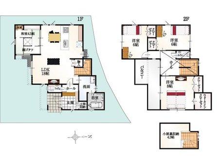(7号地)、価格3873万9000円、4LDK、土地面積129.8㎡、建物面積105.72㎡