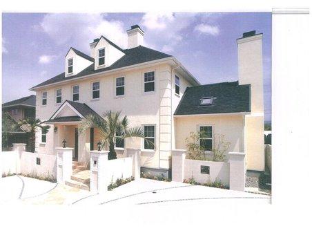 建物プラン例、土地価格1350万円、土地面積842.99㎡、建物価格2750万円、建物面積165.3㎡外観:推奨プラン