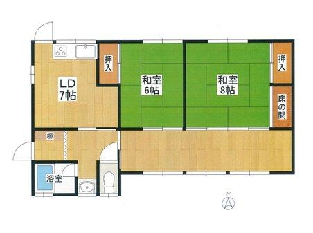 南小松(近江舞子駅) 250万円 250万円、2DK+S(納戸)、土地面積300㎡、建物面積68.13㎡2DK。現況建物:使用できません。建て替え用地としてご検討ください