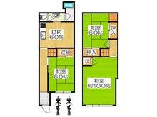 北岸和田3(萱島駅) 680万円 680万円、3DK、土地面積54.4㎡、建物面積67.84㎡全居室独立している3DKの間取りです♪