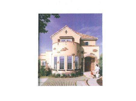 建物プラン例、土地価格500万円、土地面積281㎡、建物価格1830万円、建物面積110㎡外観:推奨プラン(A号地)プロヴァンススタイル