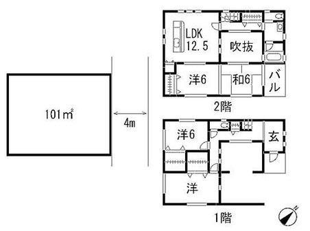 建物プラン例、土地価格1200万円、土地面積101㎡、建物価格1660万円、建物面積100㎡間取り:推奨プラン