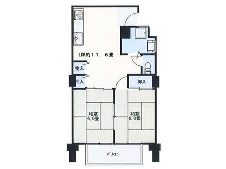 【投資用物件】住吉第二団地11号棟 2LK、価格790万円、専有面積48.98㎡、バルコニー面積3.84㎡