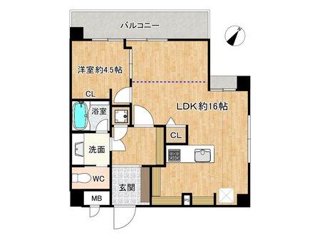 ロータリープラザ博多駅東 1LDK、価格2300万円、専有面積49.8㎡、バルコニー面積7.7㎡悠々スペースの約16帖LDK! 建具を付ければ、約3.5帖の洋室をもう一つつくることもできます♪