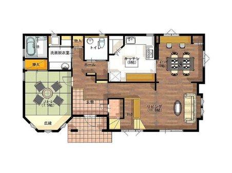 姶良市平松に完成したクイーンアン・スタイルの本格的輸入住宅「セルコホーム」モデルハウス。